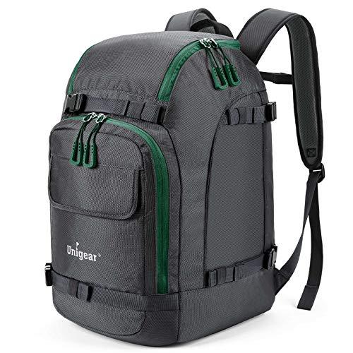 Unigear Ski Boot Bag, 50L Ski Boot Travel Backpack for Ski Helmet, Goggles, Gloves, Skis, Snowboard & Accessories (Gray)