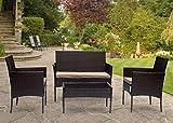 Goods Emporium Gartenmöbel-Set aus Rattan, 4 Stühle und Tisch, für drinnen, draußen, Terrasse, Wintergarten