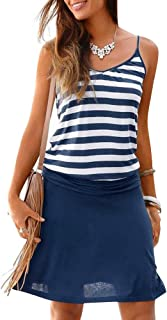Women's Summer Casual Dress Strappy Cotton Midi Beach Dresses Print Flare Beachwear Stretchy S-2XL
