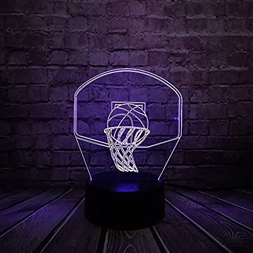 Diaporama 3D basketbal stoot op een mand lamp 3D illusie LED nachtlicht Home Decor USB Powered F - Bluetooth basis 5 kleuren S/D - afstandsbediening 7 kleuren Crack White