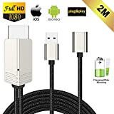 Kompatibel mit iPhone iPad Android Smartphone zu HDMI Kabel, FAERSI 1080P HD MHL HDMI Adapter für Smartphone zu TV/Projektor/Monitor, Digitaler AV Adapter, Plug&Play, 2m