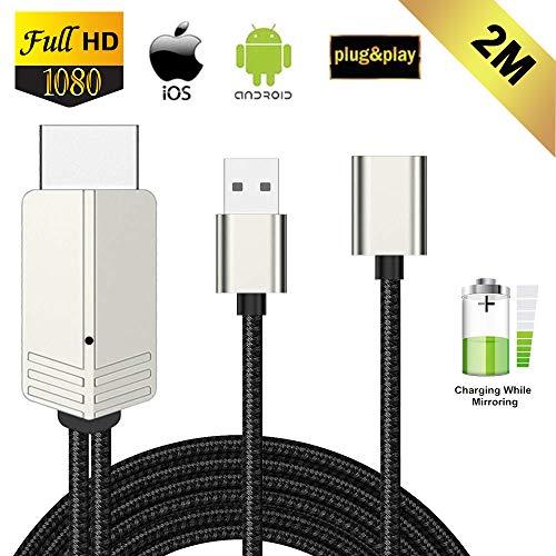 Kompatibel mit iPhone iPad Android Smartphone zu HDMI Kabel, FAERSI 1080P HD MHL HDMI Adapter für Smartphone zu TV/Projektor/Monitor, Digitaler AV Adapter, Plug&Play, 2m