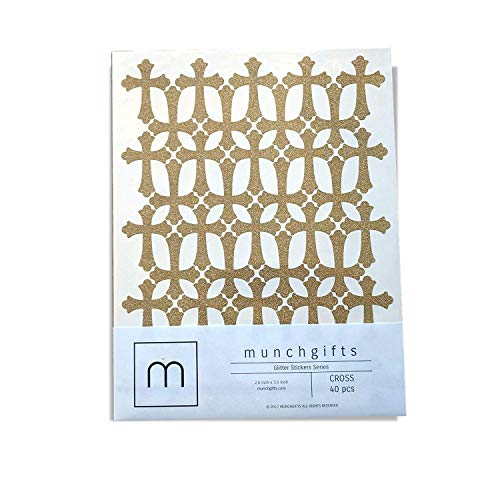 Non Shed Cross Glitter Stickers Set (2.0 inch - 40 pcs, Gold)