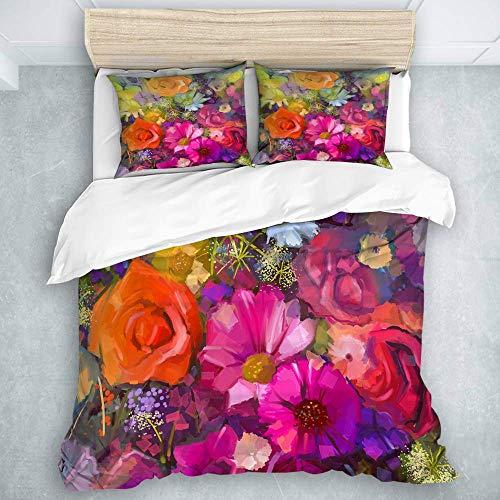 Bettbezug-Set, handbemalte Blumen in gelber und roter Farbe Blumen EIN Strauß Rosenöl-Malstil, Teenager-Mädchen Burgunder-Bettlaken-Set 3-teilig