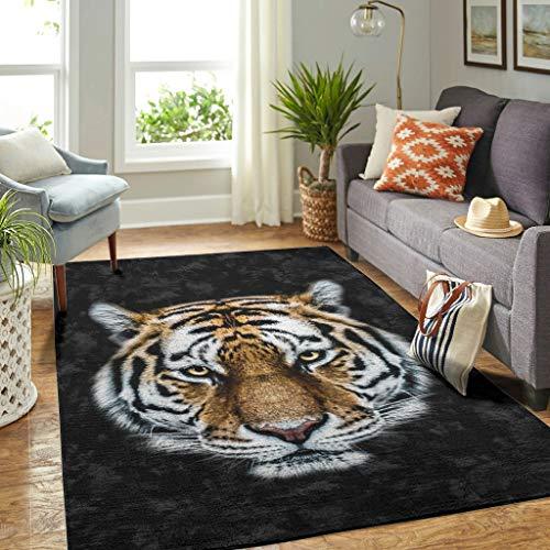 Veryday Alfombra moderna con diseño de tigre, para el salón, la puerta, para dormitorio o habitación infantil, color blanco, 91 x 152 cm
