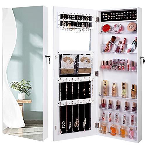 Armario colgante para joyas con espejo, armario para joyas con espejo, armario con espejo, armario para joyas, armario colgante (blanco)