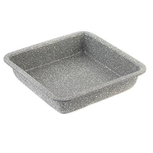 SALTER BW02780 Quadratische Backform der Marble-Kollektion aus Kohlenstoffstahl mit Antihaftbeschichtung, grau, Karbonstahl, Backblech (23cm)