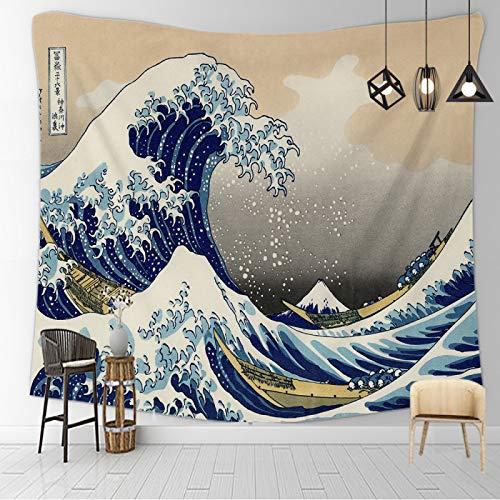 CNYG Manta psicodélica Kanagawa Wave Print Suspensión Manta Colgante de Pared Cama Bohemia Colgante de Pared Decoración del hogar Tapiz de Dormitorio Mare in Tempesta 150x130CM