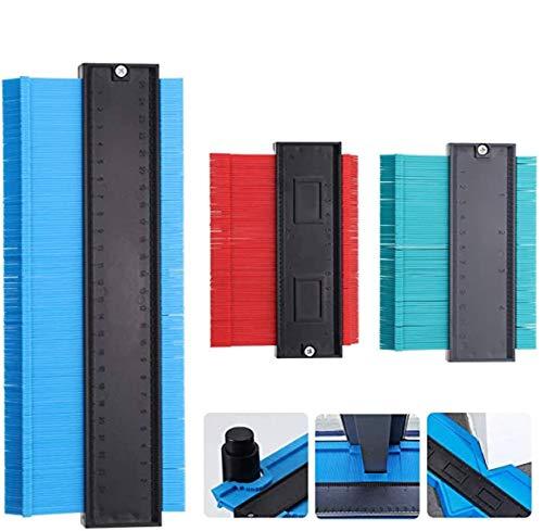 Medidor de perfil, 3 piezas regla de contorno, duplicador de contornos, herramienta de marcado de corte para cortes precisos de forma irregular (10,8 pulgadas azul, 5,5 pulgadas rojo y verde)