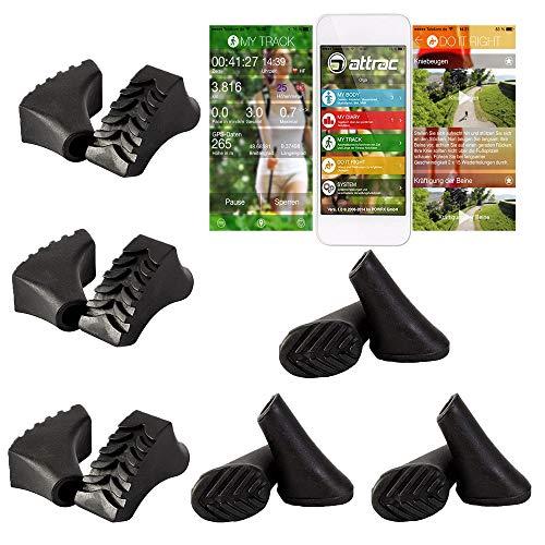 ATTRAC Lot de 12 / 6 paires de coussinets de marche nordique pour tous les modèles courants – pour asphalte et pierre (terrain) avec application fitness
