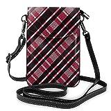 Goxegag Cartera multifuncional de piel para teléfono móvil, bolso de hombro pequeño, bolso de viaje con correa ajustable para mujer, diseño de cuadros de malla negra y rosa