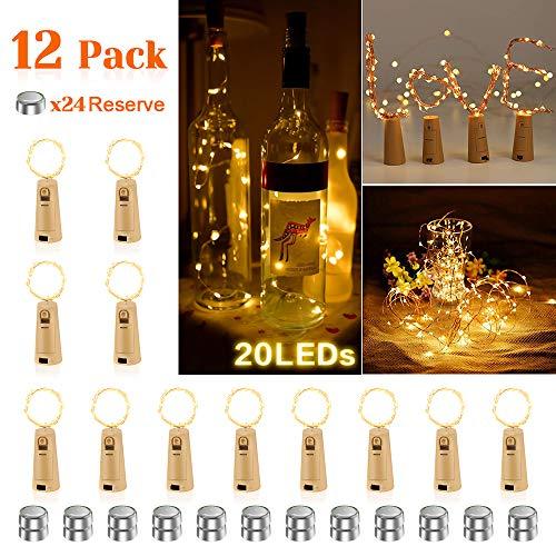 12 Stück LED Lichterkette Korken Warmweiß, AIGUOZER 20 LEDs 2M Flaschenlicht Lichterkette mit 60 Batterien LED Korken Weinflasche Lichter Stimmungslichter für DIY Deko Weihnachten Party Urlaub