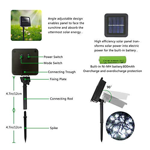 2-Pack Crystal Globe Solar String Lights Outdoor, Upgraded Ultra-Bright 60 LED Crystal Ball Solar Christmas Lights, IP65 Waterproof 8 Modes Outdoor Solar Lights for Garden, Gazebo, Tree (Cool White)