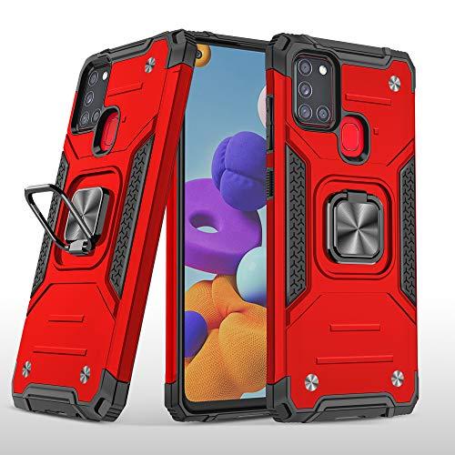 Cuoqing Funda Samsung Galaxy A21s, Carcasa Galaxy A21s Armor con 360 Grados Anillo iman Soporte Hard PC y Silicona TPU Bumper Antigolpes Case para Movil Samsung Galaxy A21s