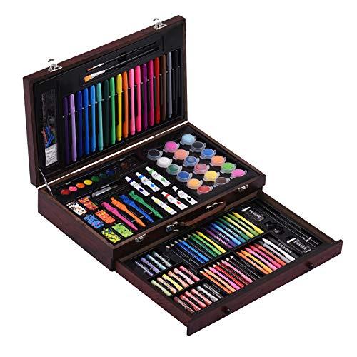Aibecy Juego de 123pcs de arte en estuche de madera,kit de pintura y dibujo con crayone,pasteles al óleo,lápices de colores,marcadores,pasteles de acuarela,pinceles para pintar,pinturas acrílicas ect.
