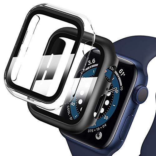 Deilin 2 Stück Hard Hülle mit Glas Displayschutz, Kompatibel mit Apple Watch SE/Series 6/ Serie 5/ Series 4 44mm, Ultradünne, Blasenfreie, PC All-Around Schutzhülle für iWatch SE/6/5/4 44mm
