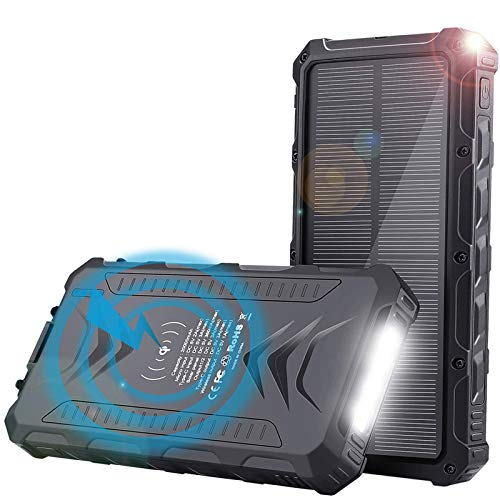 Solar Charger Power Bank - Uplayteck 20000mAh Qi Wireless Portable Charger Fast Charge with 4 Outputs, USB C Outputs 5V/3A High-Speed - Rainproof Battery Bank for Hiking Camping Outing