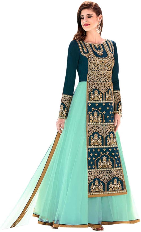 Designer Tafeta Silk Anarkali Suit for Women Trendy Indian Party dress 7569
