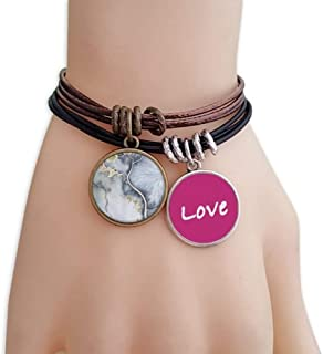 Shading Ink Watercolor Abstract Love Bracelet Leather Rope Wristband Couple Set