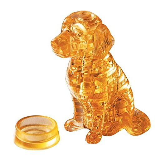 3D Crystal Puzzle Dog DIY Crystal Blocks Puzzle Toy Children Creative Gift Fun Toy 14 Years and up(Yellows)