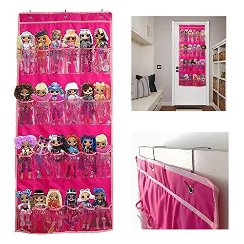 Organizador Puerta Colgante, 24 Bolsillos y Ganchos metálicos, Almacenamiento Vertical Flexible Sin Instalación, Compatible con Muñeca Sorpresa/Barbie,LOL, OMG. Mantener Ordenad