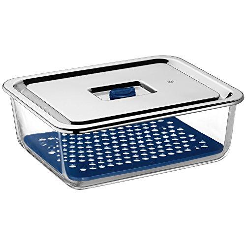 WMF Top Serve Frischhaltedose, rechteckig 26 x 21 cm, 3,0l, Schale mit Abtropfgitter, luftdichtem Deckel, Frische-Ventil, Box zum Vorbereiten, Aufbewahren und Servieren