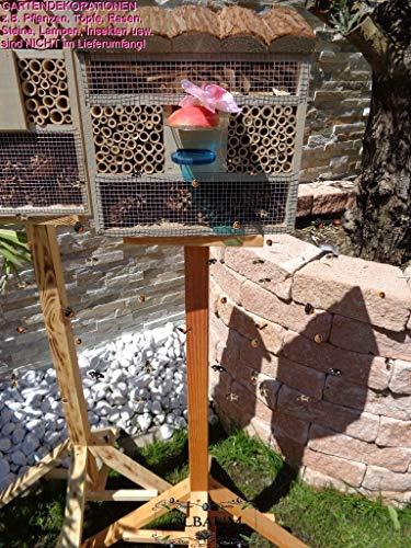 BTV Haus & Garten 1x XL insektenhotel mit Rindendach, Bienenhaus mit Standfuß UND TRÄNKE insektenhotel grau