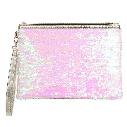 CHIC DIARY Mini Pailletten Handtasche Damen Mädchen Tasche Kleingeldbörse Kosmetiktäschchen Klein Glitzer Clutch Abendtasche