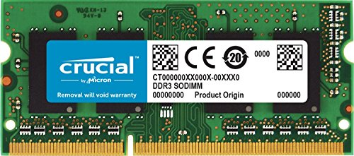 Crucial 8GB Single DDR3/DDR3L 1600 MT/S (PC3-12800) Unbuffered SODIMM 204-Pin Memory - CT102464BF160B