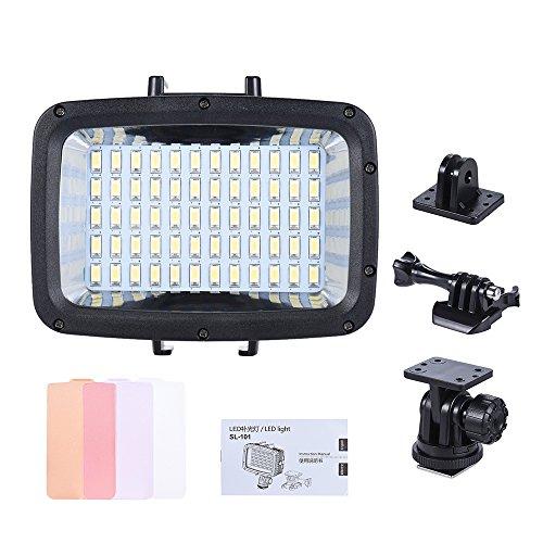 Andoer LED-Videolicht Unterwasserlicht für GoPro Hero SJCAM Action Cam Canon Nikon Sony DSLR-Kamera wasserdicht 40 m mit Blitzschuh (Batterie 18650 (65-67mm (L) * 18mm (Durchmesser) nicht enthalten)