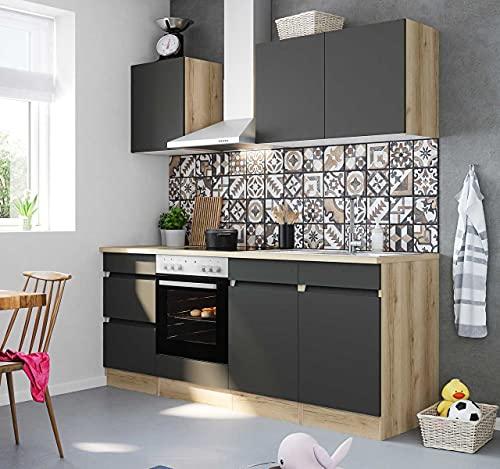 Küchenblock Noah 210 cm mit Einbauspüle ohne Elektrogeräte in anthrazit matt