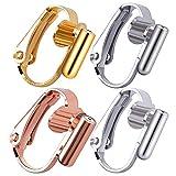 Aylifu Clip-on Ohrringe Konverter, 16 Stück (8 Paar) Ohrclips Konverter Ohrstecker Umwandler zum Ohr-Clip Ohrringe zum Anklemmen mit Montage-Pfosten - 4 Farben
