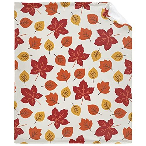 ASoftblak Autumn Harvest Fall Leaves 3 Flannel Fleece Throw Blanket, Super Soft Fluffy Lightweight Throw Blanket Gift XS 40'x30' for Pets