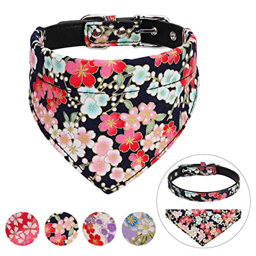Vaburs Dog Collar and Dog Bandana, Pet Collar Fancy Dog Collar with Bandana for Small Medium and Large Dogs Adjustable(L-Black)