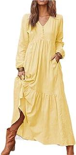 ouxiuli Womens Fashion Summer Maxi Dress Boho Chiffon Long Party Dresses Plus Size