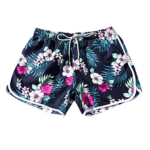 Summer Women Beach Floral Bohe Swim Shorts Trunks Pants Beach Men Swimsuits Swim Trunks,Blue,XL