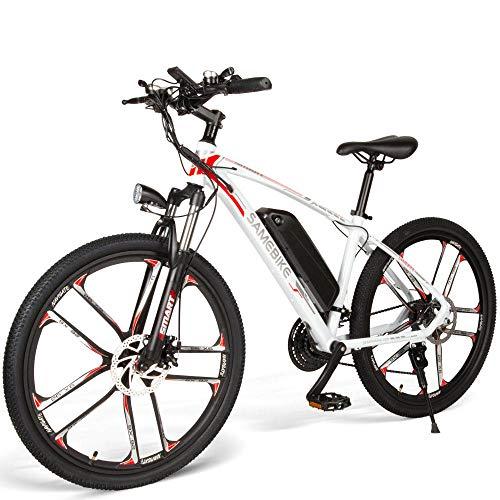 Carsparadisezone Elektrofahrrad MTB 26 Zoll E-Bike mit 48V 8Ah Lithium-Akku, Hochfestem Stoßdämpfung und 21 Gang Shimano Gangschaltung, Mountainbike 350W Motor 30km/h, Doppelscheibenbremse (Weiß)