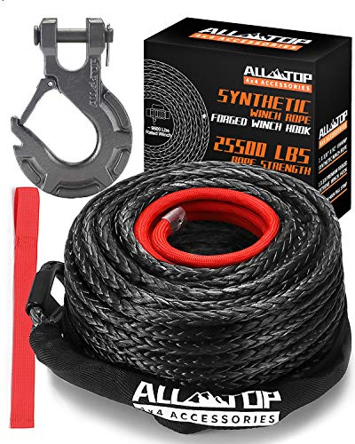 """ALL-TOP Synthetic Winch Rope Cable Kit: 3/8"""" x 92 ft 25500LBS Winch Line with Protective Sleeve + Forged Winch Hook + Safety Pull Strap go for 4WD Off Road Vehicle Truck SUV Jeep ATV UTV"""
