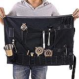 Bartender Kit Roll Bag, Sac Portable Grand Bar Bag, Maison et Travail Cocktail Sac en Denim pour Voyage 27'W x 20'H Noir