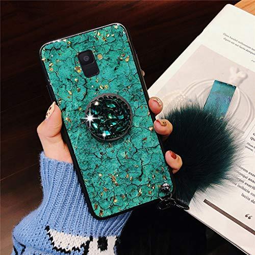 Karomenic Silikon Hülle kompatibel mit Samsung Galaxy J6 Plus Bling Glänzend Glitzer Strass Schutzhülle Weiche TPU Handyhülle mit Diamant Ring Ständer Haarball Stoßfest Tasche Bumper Case,Grün