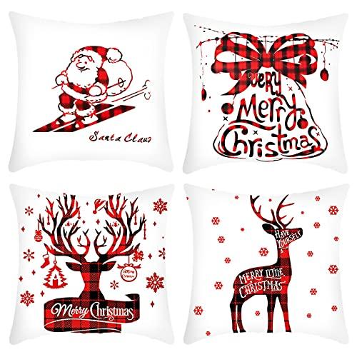 DCYGFS Cubierta de cojín de Navidad-4 Paquete,algodón Ropa de algodón Decorativo Caja de la Almohada Cojín for Sofá Sala de Estar Cama Coche Coche Cuadrado Funda de Almohada 18 x 18