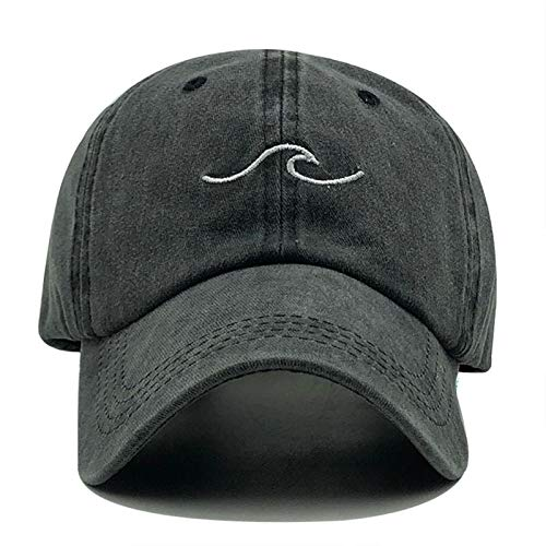 Liaiqing Sombrero Ola Bordado béisbol Gorra Sol Sombrero Primavera Verano Sombrero de Pesca Sombrero de Pesca (Color : Black)