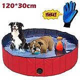 JJOBS Piscina para Perro Bañera Plegable para Perros Gatos Mascotas, Natacion al Aire Libre, Material de PVC-Rojo (L:120 * 30CM)
