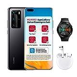 HUAWEI P40 Pro Dual-SIM Bundle (16,7 cm (6.58 Zoll), 256 GB interner Speicher, Android 10.0 AOSP) Midnight Black + 5 EUR Amazon Gutschein + Watch GT 2e, Graphite Black + FreeBuds 3, Weiß