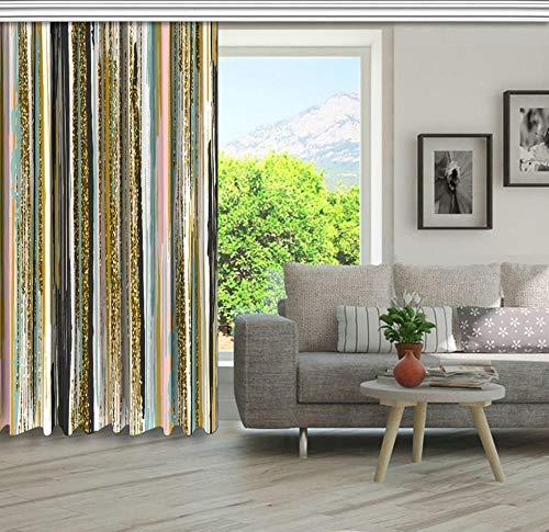 QAQA Artwork Verticale lijnen penseel strepen en strepen in goud mosterd roze blauwe houtskool gordijn 1.1m*1.3m