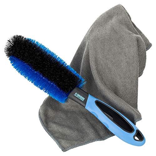 CAR4GOOD ® Premium Felgenbürste mit ummanteltem Draht + Mikrofasertuch im Set zur schonenden Reinigung von Alufelgen - Felgenreinigungsbürste Kratzschutz
