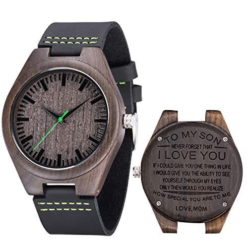 Grabado Relojes de Pulsera Sándalo Negro Reloj Madera Cuarzo analógico para Hombre Correa de Cuero(Mom,I Love You),Packed in a Box