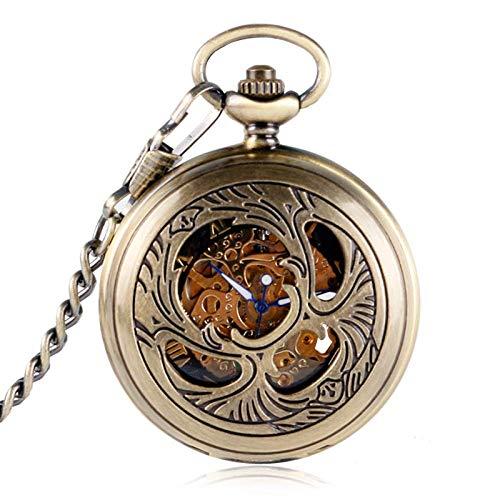 Water cup Reloj de Bolsillo Vintage Reloj de Bolsillo Vintage Elegante Esqueleto Diseño de Flores Reloj de Bolsillo Mujeres Hombres Unisex Números Romanos Mecánico Collar de Cuerda Manual Re
