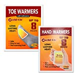 WORLD-BIO Toe Warmers 10 Pairs with Adhesive and 10 Packs Hand Warmers - Long Lasting Safe Natural Odorless Air Activated Warmers - Up to 8 Hours of Heat