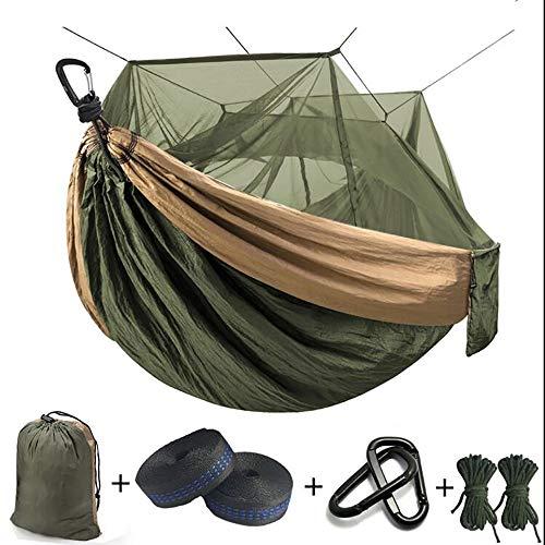 Tragbare Camping Hängematte, Ultra Light Hängematte mit Moskitonetz für 1 Personen, Starkes tragenden Baum Zelt, Schaukel Schlaf Lazy Bag,Grün